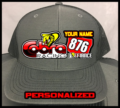 Custom Cobra MOTO Hat with name/number - Defiance Lifestyle, Race Apparel - Casual to Custom
