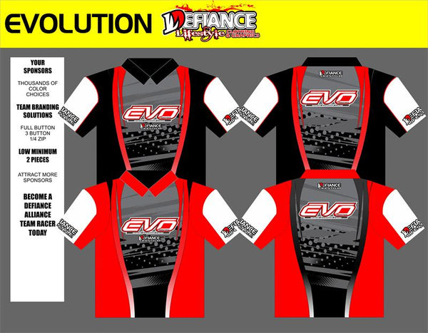 Evolution Polo Semi Custom - Defiance Lifestyle, Race Apparel - Casual to Custom