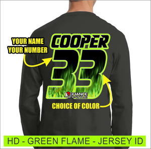 Green Flames -  Jersey Lettering - Defiance Lifestyle, Race Apparel - Casual to Custom
