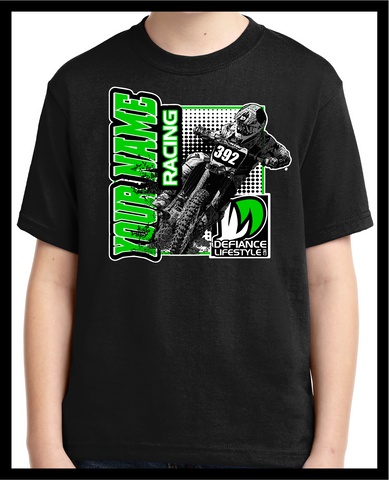 Custom T-Shirt - HARD CHARGER - dirtbike - Defiance Lifestyle, Race Apparel - Casual to Custom