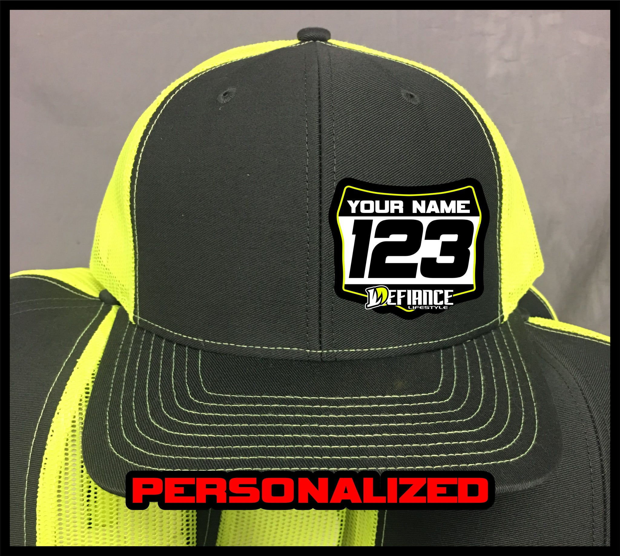 Hat with Racing Plate - flow - Defiance Lifestyle, Race Apparel - Casual to Custom