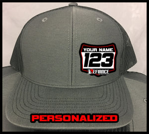 Custom Hat with Racing Plate - Grey - Defiance Lifestyle, Race Apparel - Casual to Custom