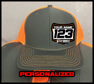 Hat with Racing Plate - Orange - Defiance Lifestyle, Race Apparel - Casual to Custom