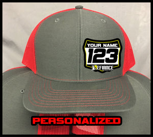 Custom Hat with Racing Plate - red - Defiance Lifestyle, Race Apparel - Casual to Custom