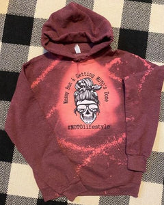 Bleached Out Ladies Moto Bun Hoodie