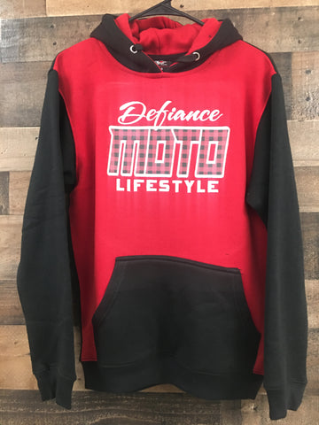 Premium 2tone Sweatshirt- Red/Black Hoodie Moto Flannel