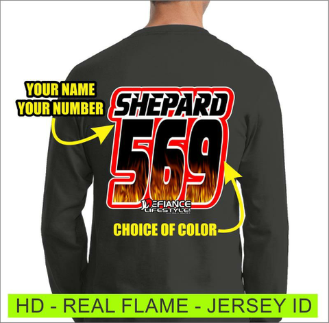 Real Flames -  Jersey Lettering - Defiance Lifestyle, Race Apparel - Casual to Custom