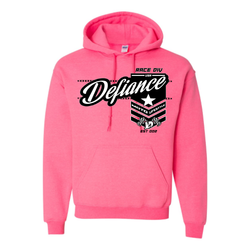 Battle Sweatshirt - Pink Hoodie - Defiance Lifestyle, Race Apparel - Casual to Custom