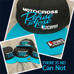 Hat - refuse to lose - neon blue flat brim hat - Defiance Lifestyle, Race Apparel - Casual to Custom