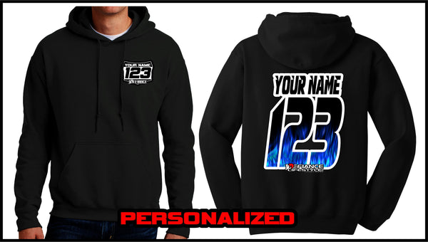 Custom Blue Flame Sweatshirt - BLACK - Defiance Lifestyle, Race Apparel - Casual to Custom
