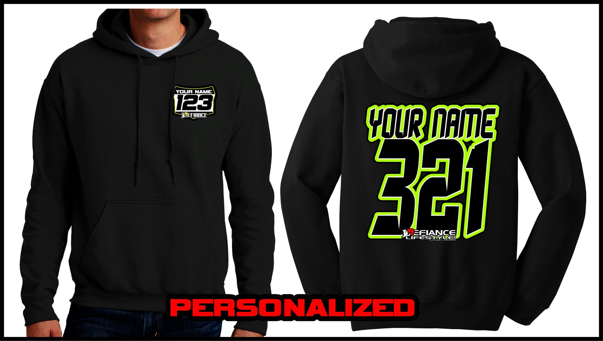 Custom Demond Sweatshirt - BLACK - Defiance Lifestyle, Race Apparel - Casual to Custom