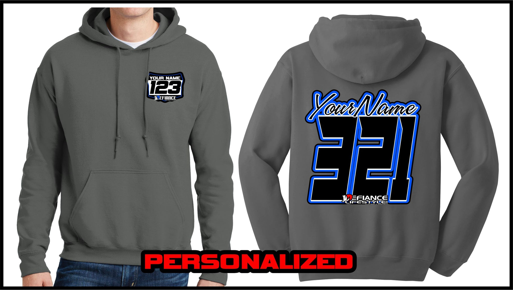 Custom Factory Script Sweatshirt - Charcoal - Defiance Lifestyle, Race Apparel - Casual to Custom