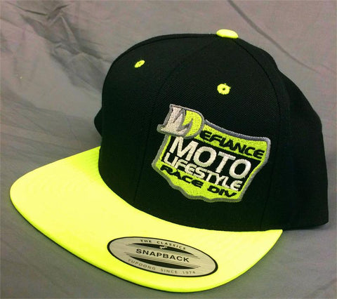 Hat - Neon Yellow/black flat brim - plate logo - Defiance Lifestyle, Race Apparel - Casual to Custom