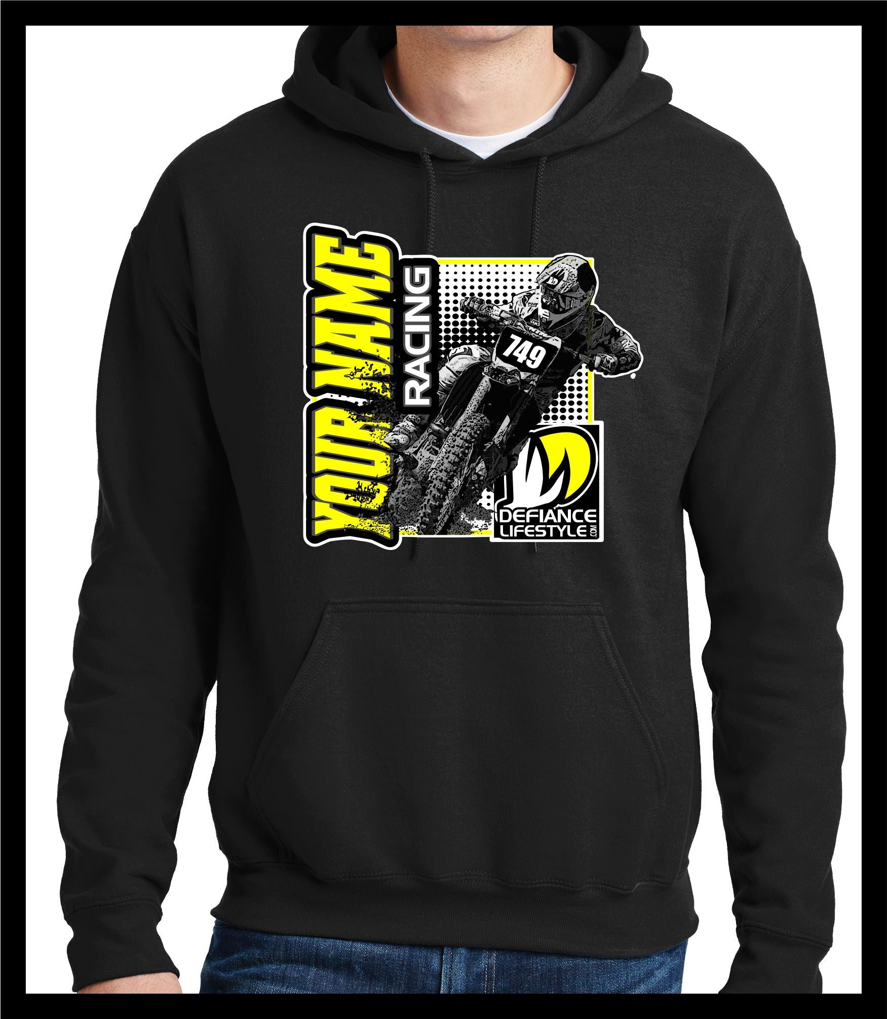 Hard charger Race Sweatshirt - BLACK - Defiance Lifestyle, Race Apparel - Casual to Custom