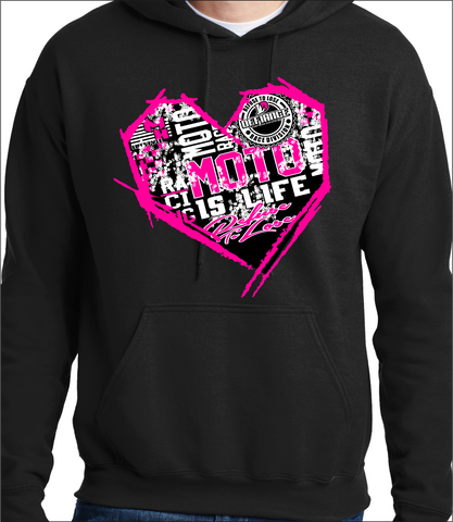 Sweatshirt- Neon Pink Racing Moto Heart black Hoodie