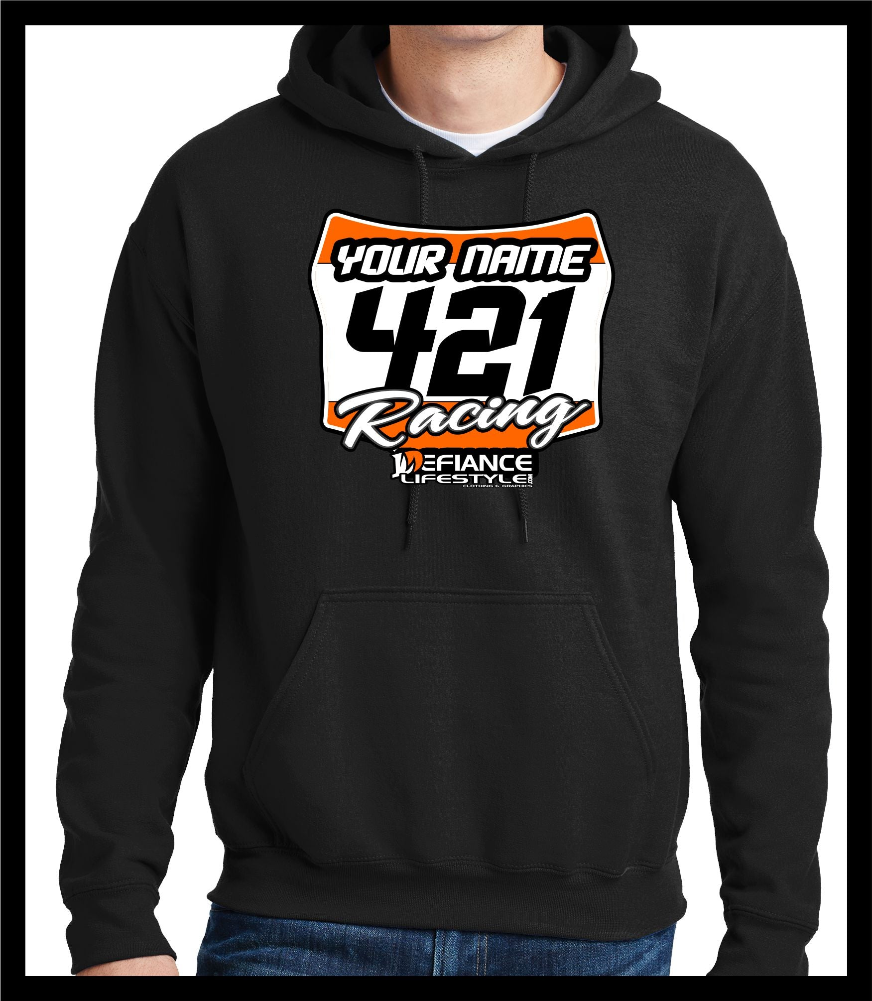 Racer Plate Motocross Sweatshirt - BLACK - Defiance Lifestyle, Race Apparel - Casual to Custom