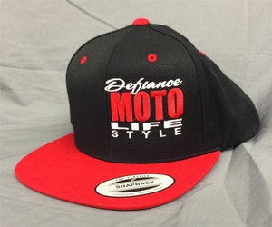 Hat - red/black flat brim - Defiance Lifestyle, Race Apparel - Casual to Custom