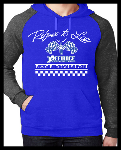 Refuse to Lose Race Sweatshirt - Spark Blue 2 tone Hoodie - Defiance Lifestyle, Race Apparel - Casual to Custom