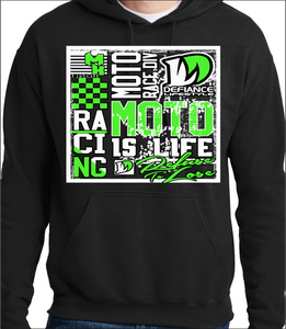 Neon Green Racing Squared Up - black Hoodie