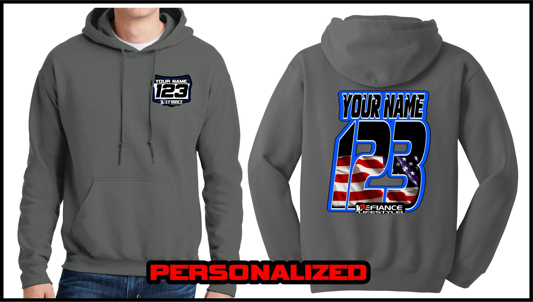 Custom USA Sweatshirt - Charcoal - Defiance Lifestyle, Race Apparel - Casual to Custom