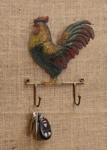 Farm Life Rooster Decor with Two Hooks