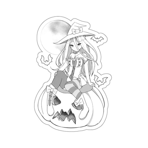 Image of Yuuki B&W Kawaii Witch Cute Anime Girl Kiss-Cut Stickers