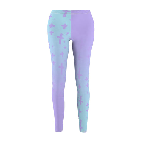Image of Light Pastel Goth Cross V2.2 Pattern Women's Cut & Sew Casual Leggings