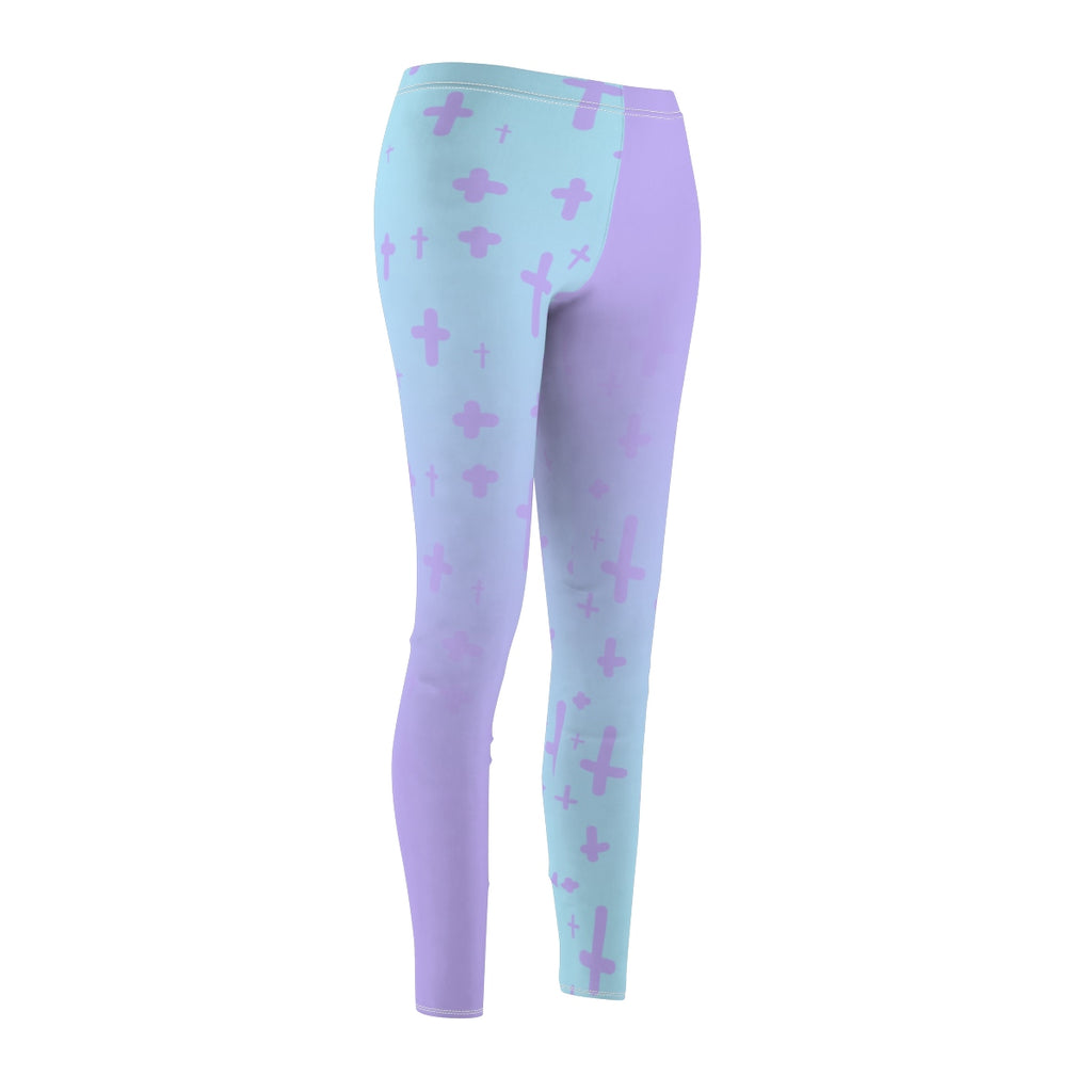 Light Pastel Goth Cross V2.2 Pattern Women's Cut & Sew Casual Leggings