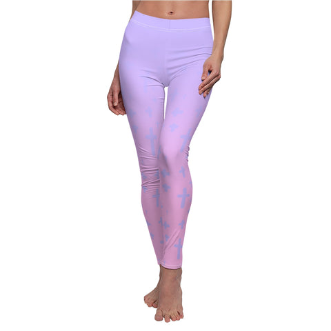 Image of Light Pastel Goth Cross V1 Pattern Women's Cut & Sew Casual Leggings
