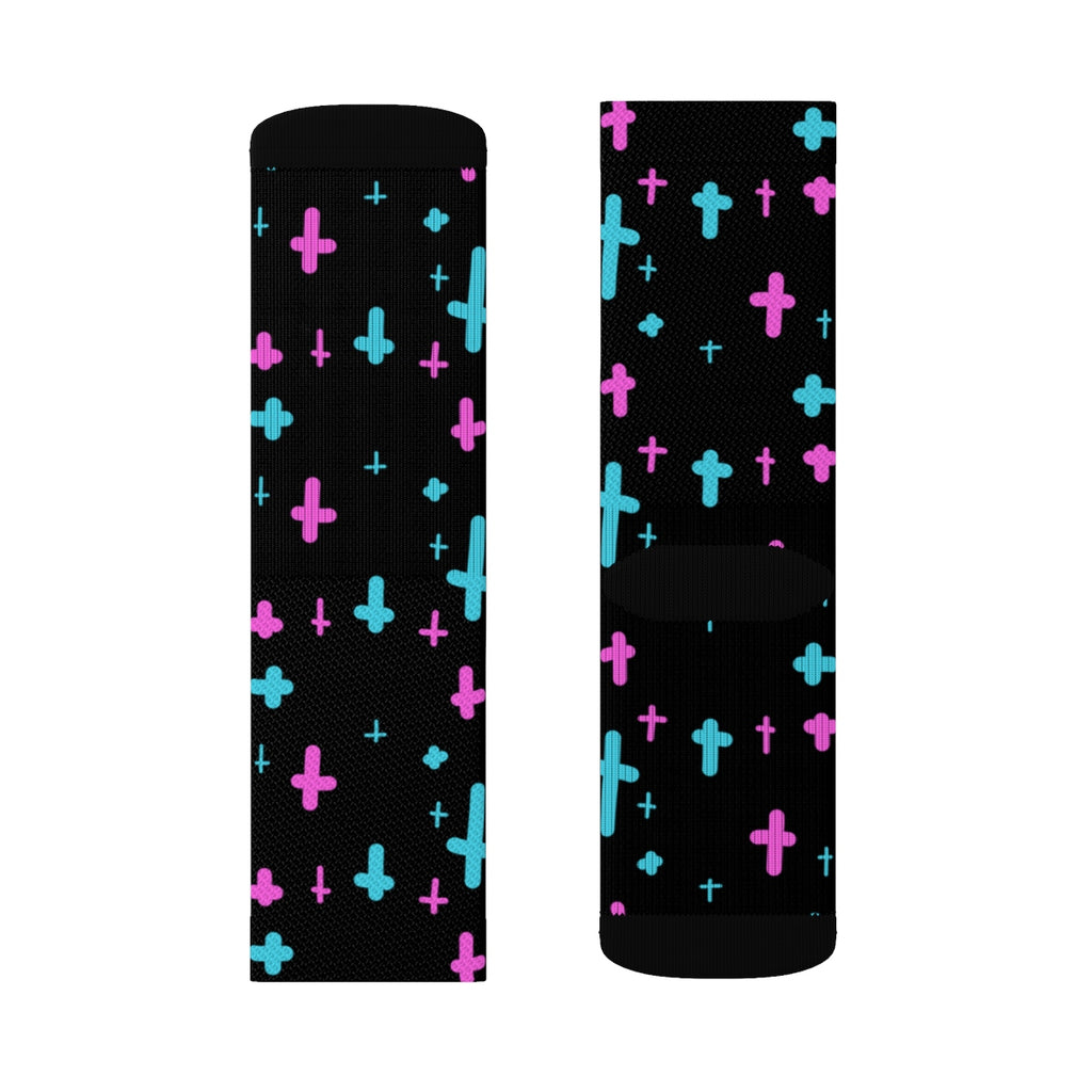 Crosses Black Sublimation Socks