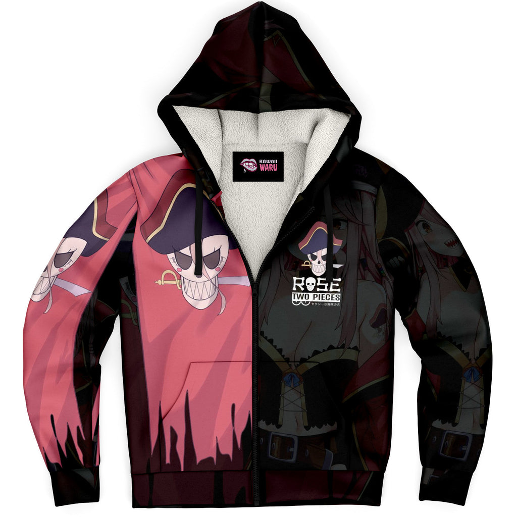 Rose Pirate captain anime girl Sherpa Jacket Hoodie