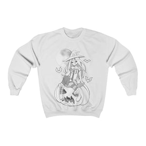 Yuuki Kawaii Witch Cute Anime Girl B&W Sweatshirt