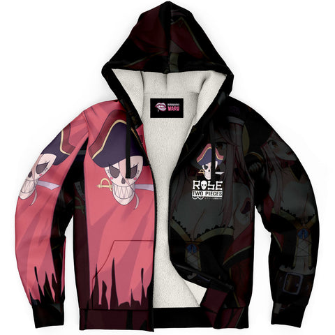 Image of Rose Pirate captain anime girl Sherpa Jacket Hoodie