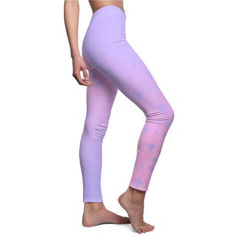 Image of Light Pastel Goth Cross V1.2 Pattern Women's Cut & Sew Casual Leggings