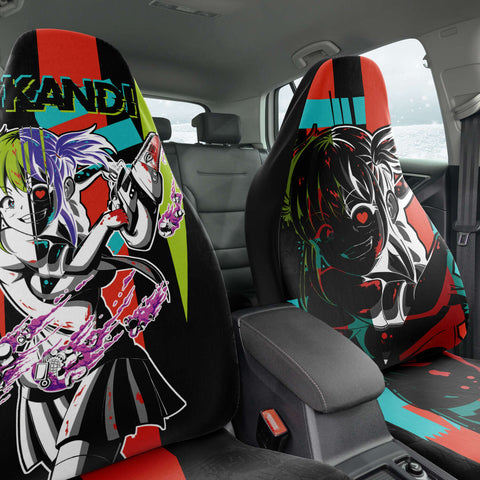Image of Kandi Cute Yandere Anime Girl Anime Car Seat Cover (x2)