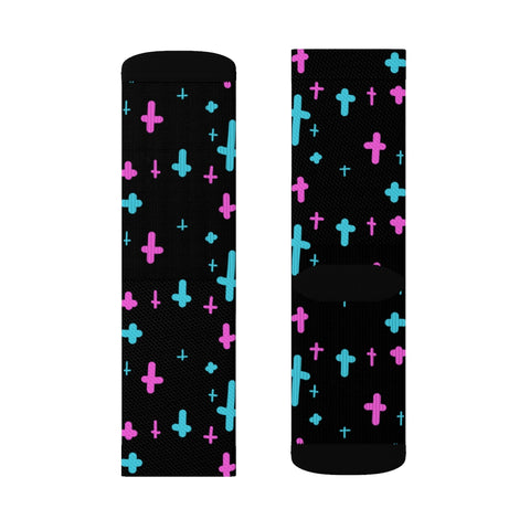 Image of Crosses Black Sublimation Socks