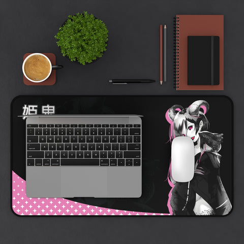 Oni-Hime - Demon princess anime girl Large Mouse Pad Desk Mat