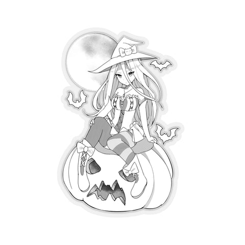 Yuuki B&W Kawaii Witch Cute Anime Girl Kiss-Cut Stickers
