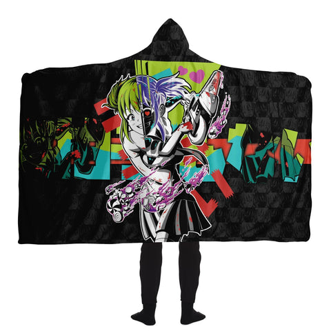 Kandi Cute Yandere Anime Girl Hooded Blanket