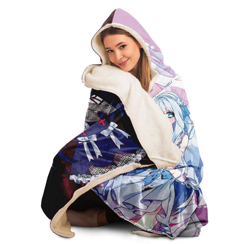 Image of Saidah and Laylah - Dark and Light Anime Angel Twins Hooded Blanket