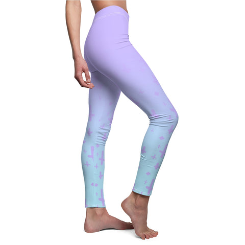 Image of Light Pastel Goth Cross V2.1 Pattern Women's Cut & Sew Casual Leggings