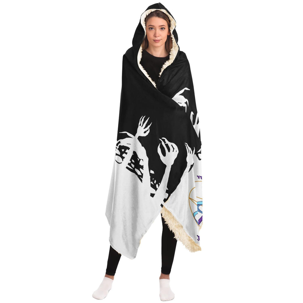 Chiroko White Kawaii Creepy Cute Demon Anime Girl Hooded Blanket
