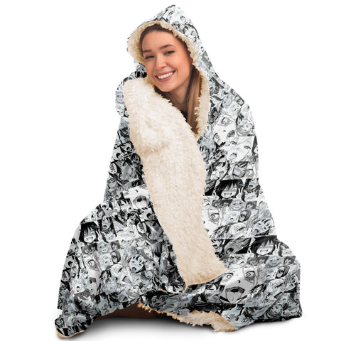 Sexy Ahegao Hentai Faces Hooded Blanket