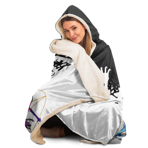 Image of Chiroko White Kawaii Creepy Cute Demon Anime Girl Hooded Blanket