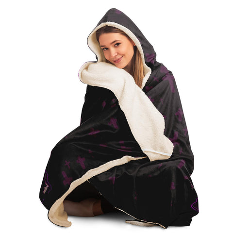 Image of Black Maaya Creepy Cute anime Hooded Blanket