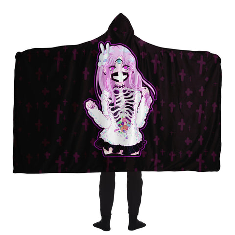 Black Maaya Creepy Cute anime Hooded Blanket