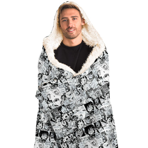 Image of Sexy Ahegao Hentai Faces Hooded Blanket