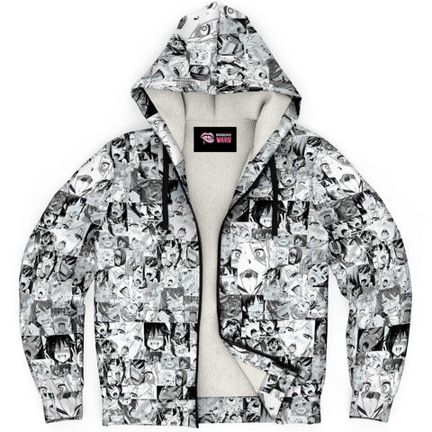 Image of Sexy Ahegao Hentai Faces Sherpa Jacket Hoodie