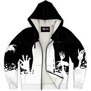 Chiroko Kawaii Creepy Cute Demon Anime Girl AOP Sherpa Jacket Hoodie