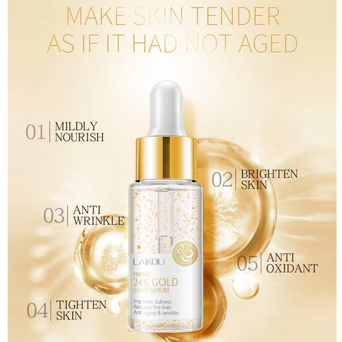 LAIKOU 24K Snail Repair Face Serum Cosmetics